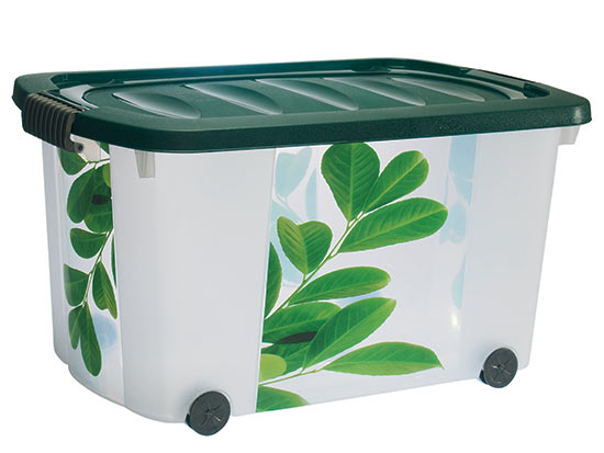 Velký plastový box s víkem na kolečkách 60 x 40 x 32 cm, 45