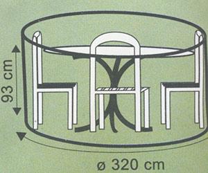 Ochranný obal na zahradní nábytek 504302, průměr 320 x 92 cm