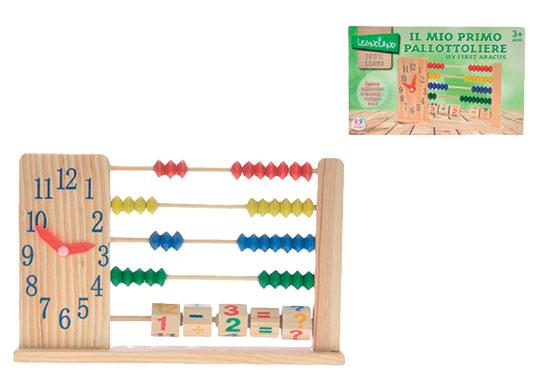 Počítadlo dřevěné s čísly a hodinami v krabičce