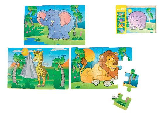 Puzzle dřevěné 20 x 14 x 3 cm zvířátka safari