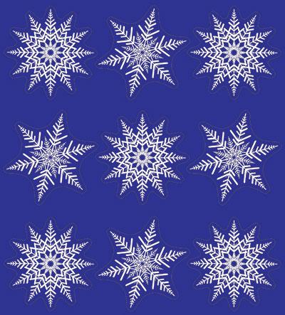 Sněhové vločky se stříbrným glitrem na okno 36 ks
