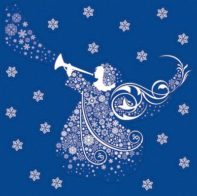 Anděl na okno s glitrem + sněhové vločky adhezivní 33,5 x 30 cm