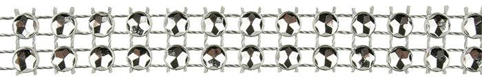 Dekorační řetěz dvouřadý stříbrný, 1,8 m