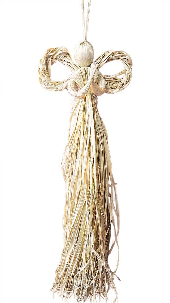 Anděl na pověšení velký slaměný se zlatou nitkou 60 cm