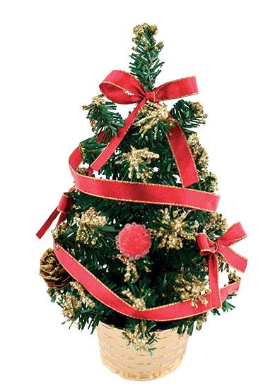 Stromek nazdobený červený s mašlí 20 cm