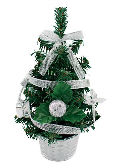 Stromek nazdobený stříbrný s mašlí 20 cm