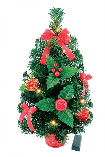 Stromek nazdobený červený LED svítící 50 cm