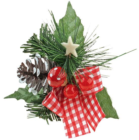 Vánoční přízdoba zápich s károvanou mašlí 15cm