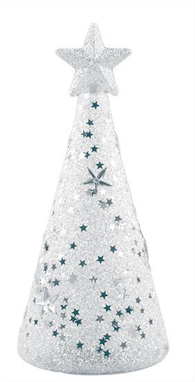Vánoční stromeček skleněný svítící Zdobený LED 16 cm