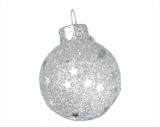 Skleněné Mini baňky stříbrné 3 cm, 12ks