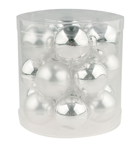 Skleněné baňky Zrcadlové, stříbrné 4 cm, 18 ks