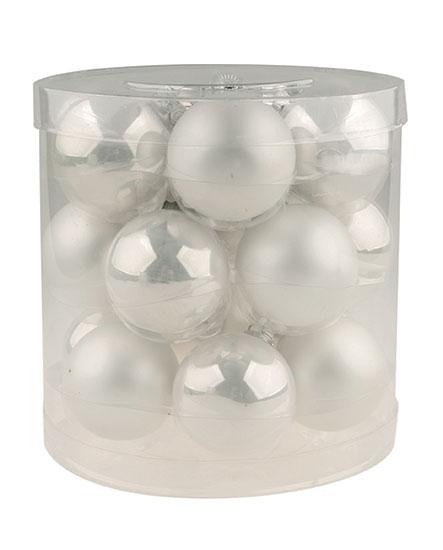 Skleněné baňky Zrcadlové, bílé 4 cm, 18 ks
