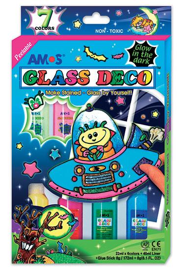 Barvičky na sklo Amos 4 barvy + 2 svítící ve tmě + kontura 40ml