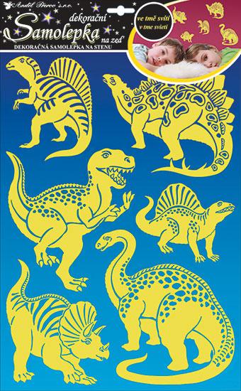 Samolepka na zeď dinosauři svítící ve tmě 47 x 29cm