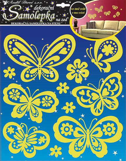 Samolepky na zeď svítící ve tmě motýli 38 x 31 cm
