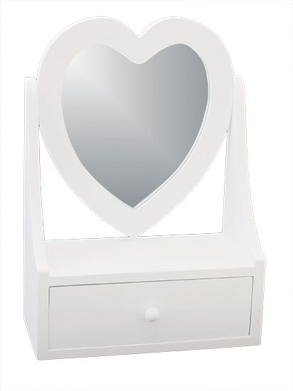Šperkovnice se zrcadlem ADO0429, dřevěná bílá