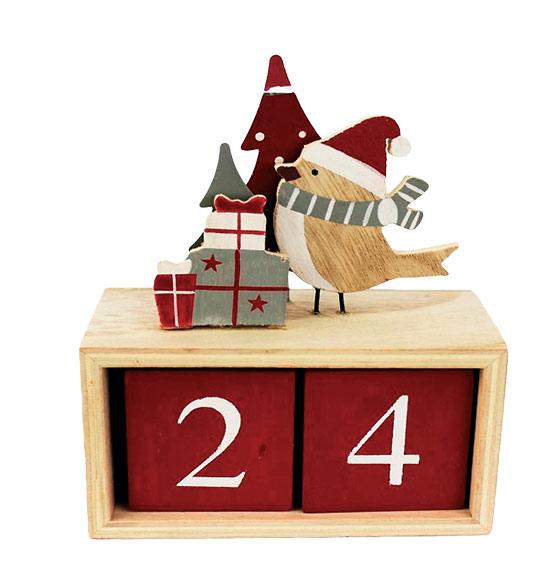 Dřevěná dekorace adventní kalendář