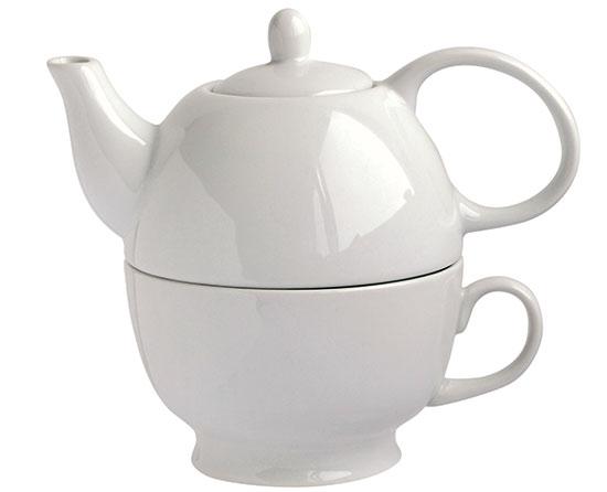 Konvička na čaj se šálkem 2 v 1, bílá