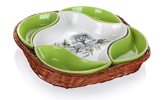 Servírovací misky v košíku OLIVES 28 cm, 5 dílů, Banquet