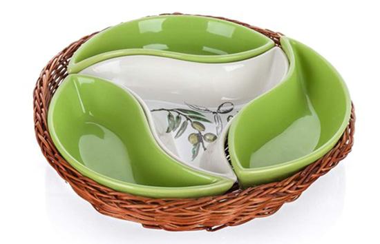 Servírovací misky v košíku OLIVES 23 cm, 4 díly, Banquet
