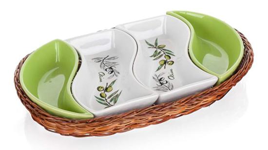 Servírovací tác v košíku OLIVES 30,5 cm, 4 díly, Banquet