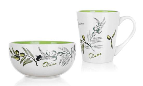 Sada snídaňová - hrnek a miska OLIVES, 2 ks
