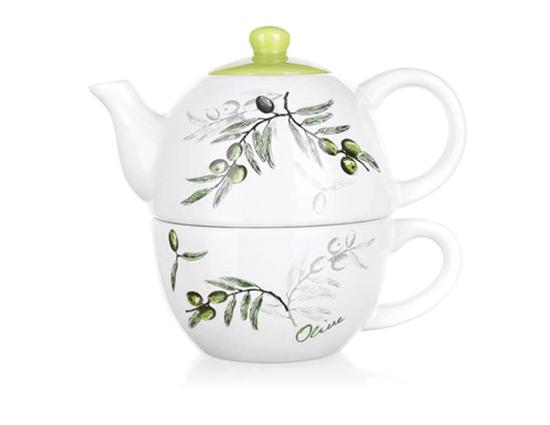 Keramická konvička na čaj se šálkem OLIVES, Banquet