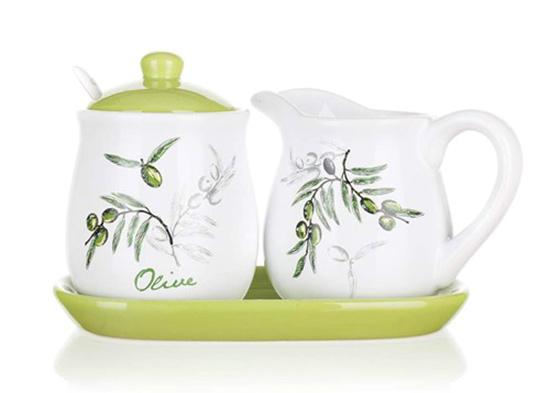 Sada cukřenka a mléčenka OLIVES, 4 díly, Banquet