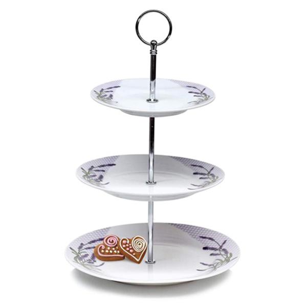 Etažér, stojan na cukroví porcelánový LAVENDER, 3patrový, Banquet