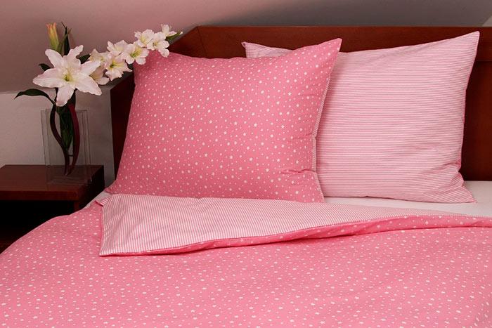 Tibex bavlněné povlečení Stars Pink 140x200, 70x90cm, růžová