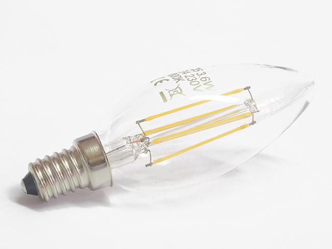 LED žárovka Filament 3,6 W, E14, 360lm, bílá teplá, Hutermann