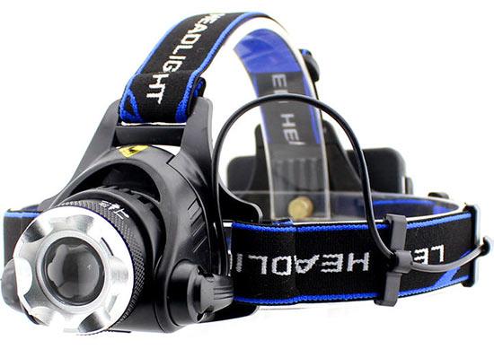 LED Čelovka HLED-36, svítilna s CREE XM-L T6, 10W - zoom 300 m, 950 lm