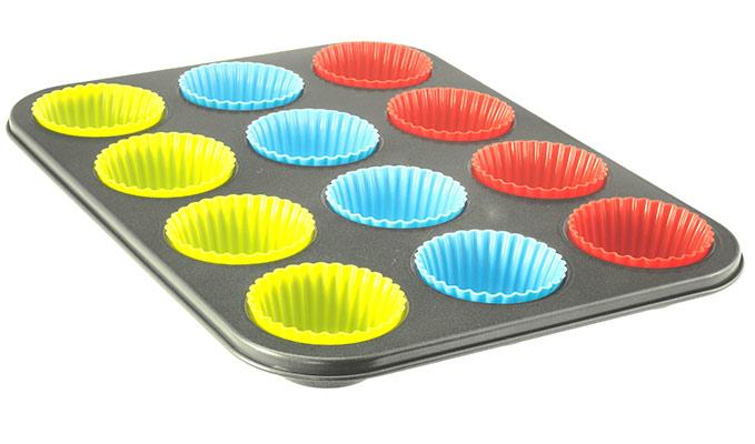Forma na muffiny se silikonovými košíčky 36 x 27 x 3 cm, 12 ks