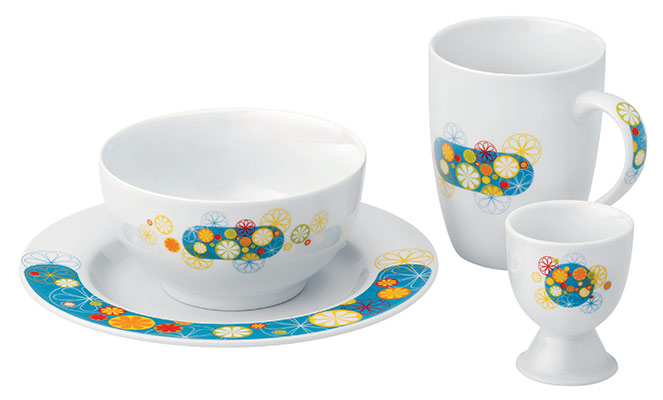 Snídaňový porcelánový set Chantal 4 ks