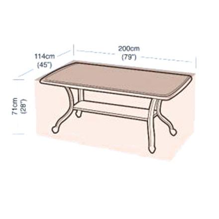 Ochranný obal na zahradní stůl obdélníkový, 200 x 114 x 71 cm