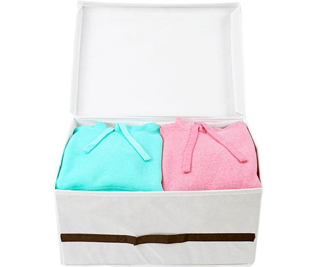 Úložný box s víkem na oděvy do skříně L, 50 x 38 x 24 cm, bílá