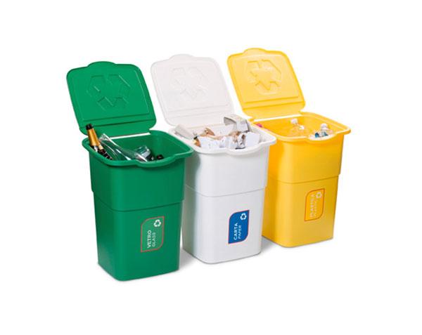 Odpadkové koše na tříděný odpad Set Eco 3 x 50 l