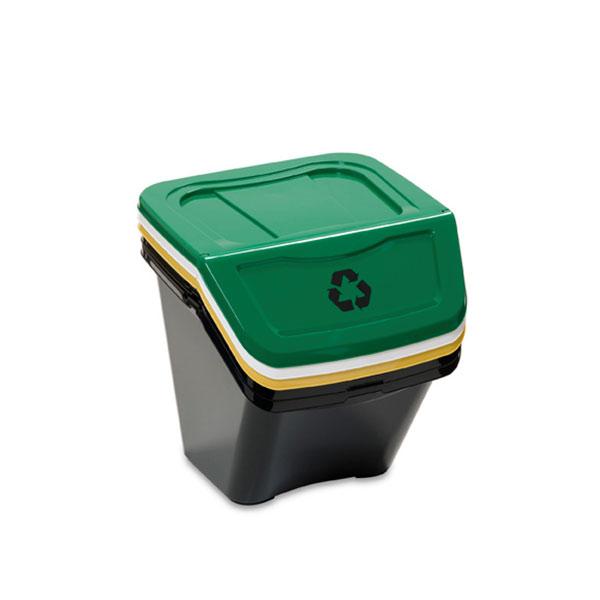 Stohovatelné odpadkové koše na tříděný odpad Ecobin 30 l, 3ks