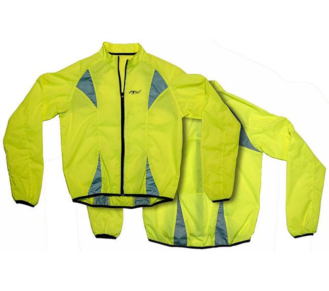 Reflexní bunda na kolo, běhání S.O.R s odraznými prvky XXL, žlutá, OEM