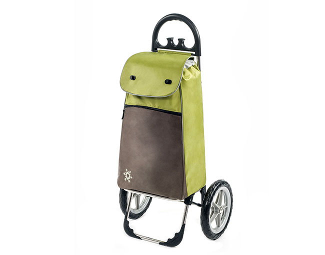 Módní nákupní taška s termo kapsou na velkých kolečkách Vienna 55 l, zelená