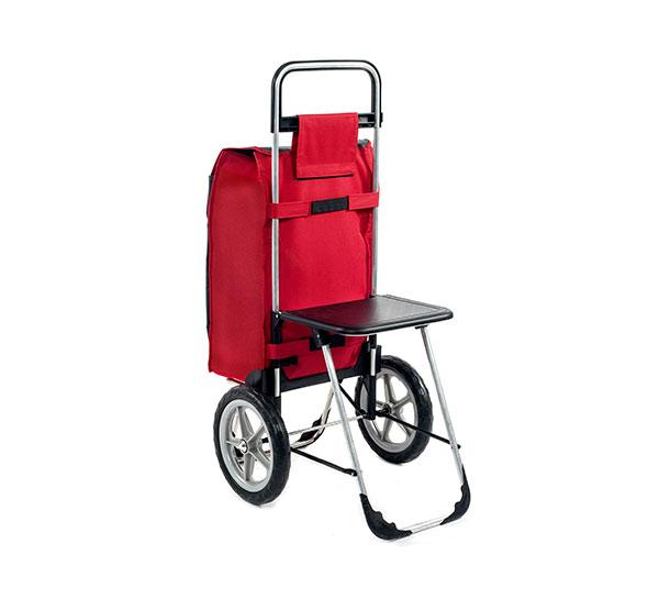 Velká nákupní taška na kolečkách se sedátkem Relax 65 l, červená