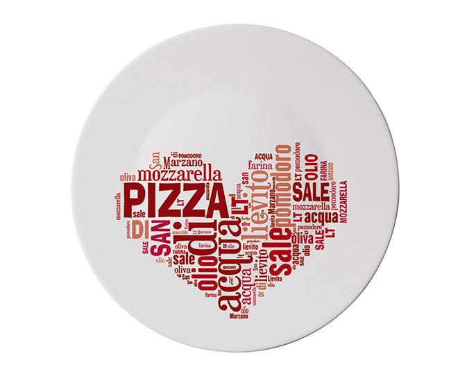 Bormioli skleněný talíř na pizzu I love pizza 33 cm, red