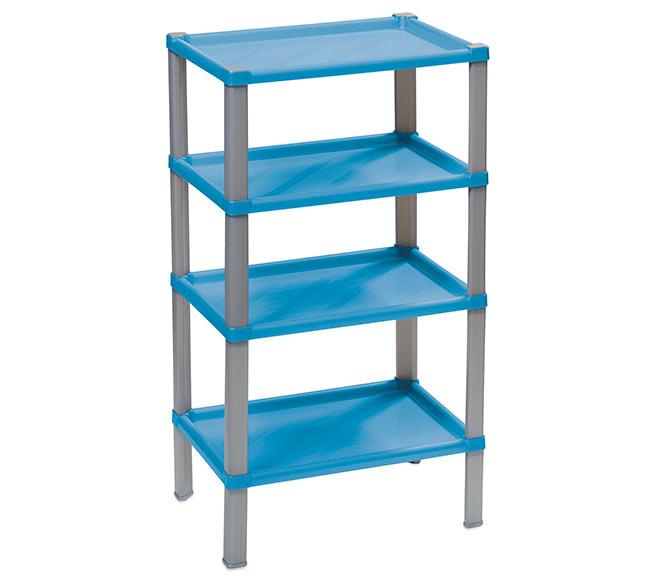 Plastový regál do domácnosti 104, 4 police, 42x30x74 cm, modrá