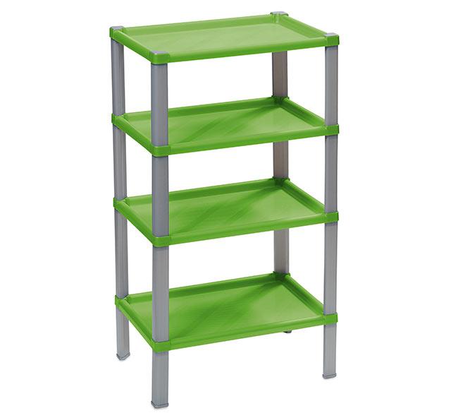 Plastový regál do domácnosti 104, 4 police, 42x30x74 cm, zelená