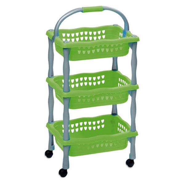 Dětský úložný regál 622 pojízdný, 3 košíky, 3x4 kg, zelená
