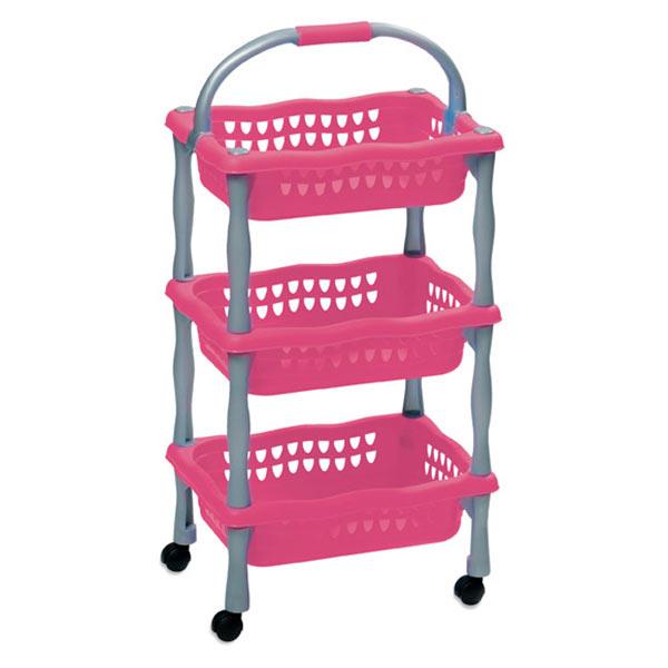 Dětský úložný regál 622 pojízdný, 3 košíky, 3x4 kg, fialová