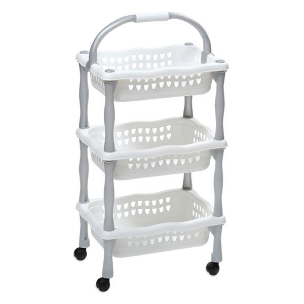 Plastový pojízdný regál do koupelny 622, 3 košíky, 3x4 kg, bílá