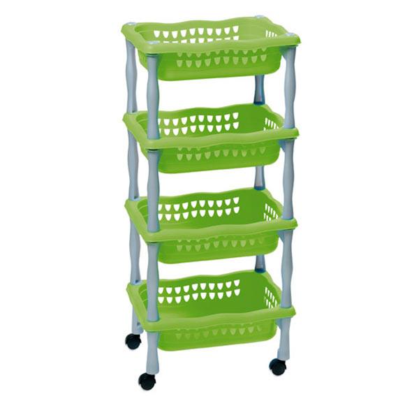 Dětský úložný regál 623 pojízdný, 4 košíky, 4x4 kg, zelená