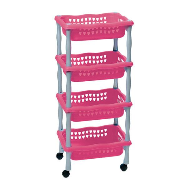 Dětský úložný regál 623 pojízdný, 4 košíky, 4x4 kg, fialová