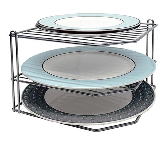Polička na talíře rohová 6782, 3 patra 23 x 23 x 21 cm, šedá